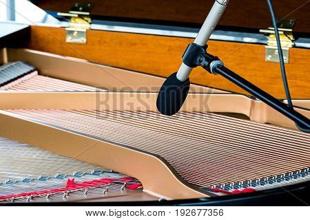 Grand Piano Strings With Microphone. Musical Instruments Closeup.