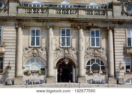 Crewe town hall / municipal building and war memorial, Crewe, Cheshire, UK
