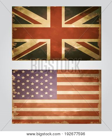 British and Canada flags grange old style in vintage colors vector set