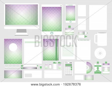 Corporate identity template set. Business stationery mock-up. Branding design. Colorful geometric background.