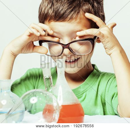 little cute boy with medicine glass isolated wearing glasses smiling real genious scientist