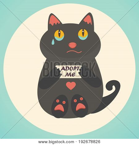 Cute cat with Adopt Me text. Homeless animals concept, pets adoption theme.