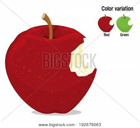 A red bitten apple on transparent background