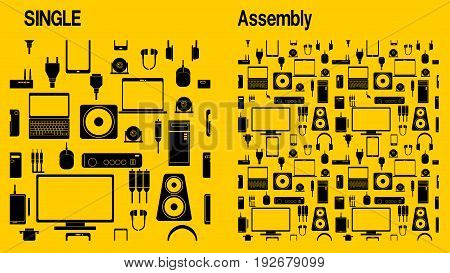 Yellow IT gadget icon seamless background. Left is single pattern. Right is 4 patterns assembly