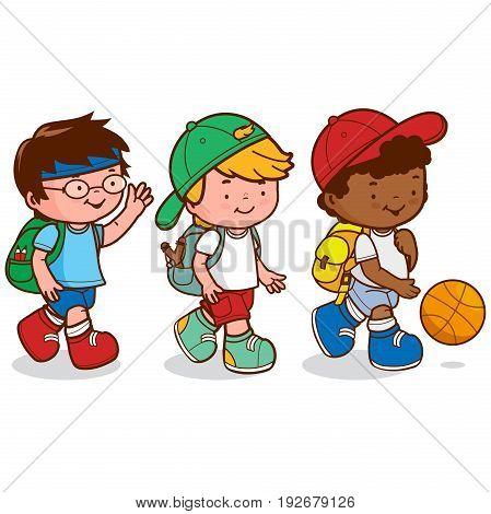 Three children meet after school to go play basketball. Vector illustration.