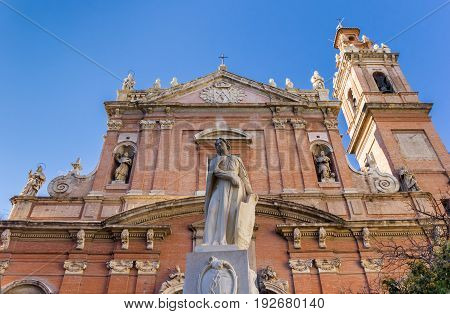 Statue In Front Of The Santo Tomas Church In Valencia