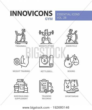 Gym - modern color vector single line icons set. Treadmill, man, woman, weight, lift, exercycle, kettlebell, boxing gloves bodybuilding equipment records log sportswear