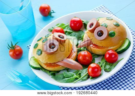Delicious hamburger like a frog for kids party