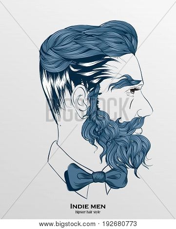Indie Men Hipster Hair Style Design On Gray Background