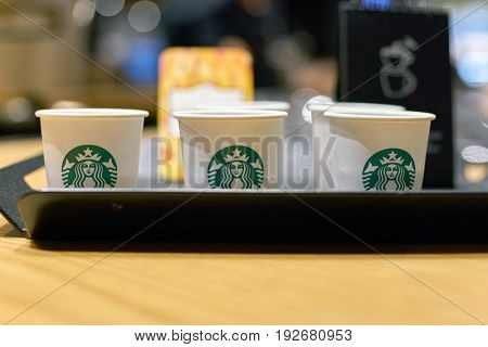 SEOUL, SOUTH KOREA - CIRCA MAY, 2017: a tray of samples on a table in Starbucks. Starbucks Corporation is an American coffee company and coffeehouse chain.
