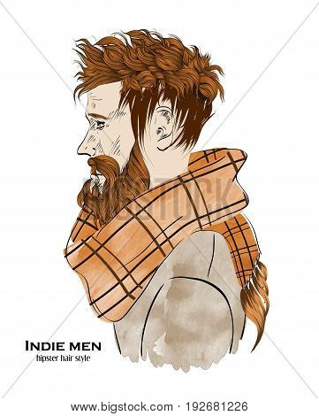 Indie Fashion Men. Hipster Hair Style Design On White Background