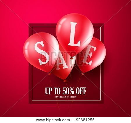 Red sale balloons vector banner design. Balloons with sale text flying in red background for store shopping promotion. Vector illustration.