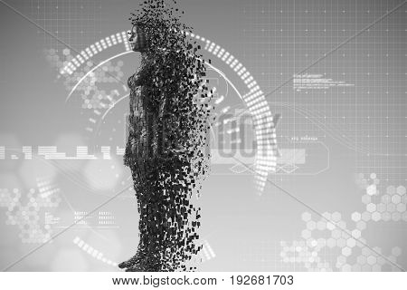 Full length of pixelated black 3d woman against digitally generated image of speedometer