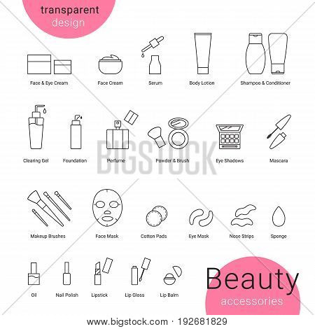 Beauty accessories icons set and makeup symbols. White background with transparent beauty and skin care icons such as shampoo, acid, cream, bruch, powder, perfume, lipstick, balm, face mask