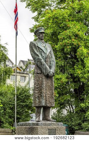 Statue Of King Haakon Vii Of Norway In Tromso, Norway.