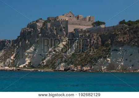Beautiful view of San Nicola island with Santa Maria a Mare sanctuary