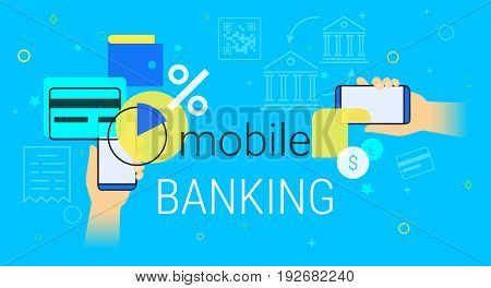 Mobile banking and accounting on smartphone creative concept illustration. Human hands hold smart phone with bank app for credit card managing, money sending, savings and making deposits and online.