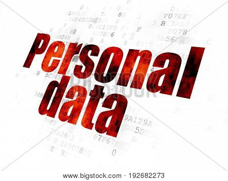 Information concept: Pixelated red text Personal Data on Digital background