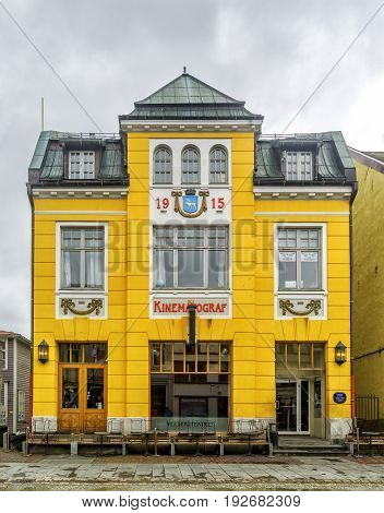 TROMSO NORWAY - JULY 09 2016: Verdensteatret Kino (World Theater Cinema) in Tromso Norway. Was designed by P. Amundsen and opened in 1916 with 349 seats. Was given Listed Building status in 1994.