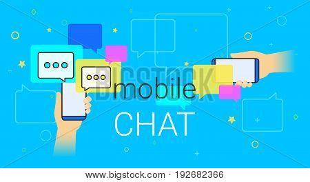 Mobile chat and messenger on smartphone creative concept illustration. Human hands hold smart phone with line speech bubbles and text. Texting messages each other via internet and modern lifestyle.