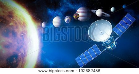 Digitally generated image of 3d solar satellite against illustrative image of various planets and sun