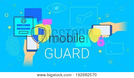 Mobile guard app on smartphone concept illustration. Human hands hold smartphone with anti hacker app for internet protection and web safety. Security applications and modern lifestyle blue background