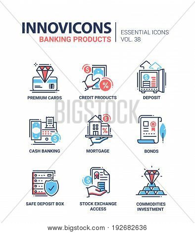 Banking Products - modern vector line design icons set. Premium card, credit product, deposit, cash, mortgage, bond, safe box, stock exchange access, commodities investment, money, pay, house.