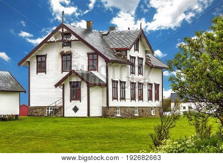 View Of Old Norwegian House In Andenes.