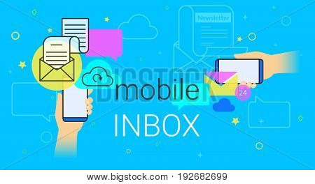 Mobile inbox sync app on smartphone concept vector illustration. Human hands hold smart phone with email app for receiving newsletters and network notification. E-mail synchronization blue background