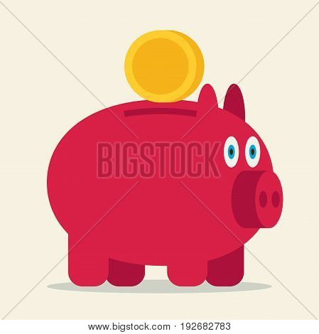 Pig bank flat color vector icon illustration.