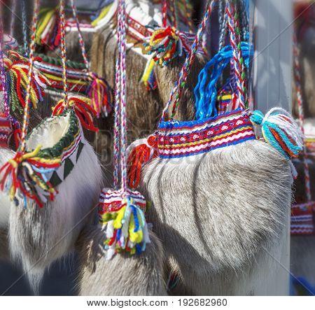 Traditional Ethnographic Sami Bag Made Of Deer Fur.