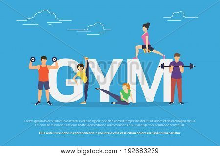 Gym concept vector illustration of young people doing workout with equipment. Flat design of guys and women training near big letters gym. Active lifestyle. Sport banner for landing page or web