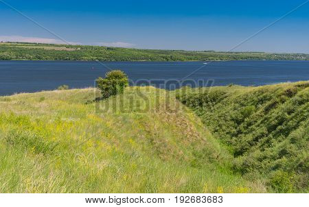 Early summer landscape with hilly Dnipro riverside Ukraine