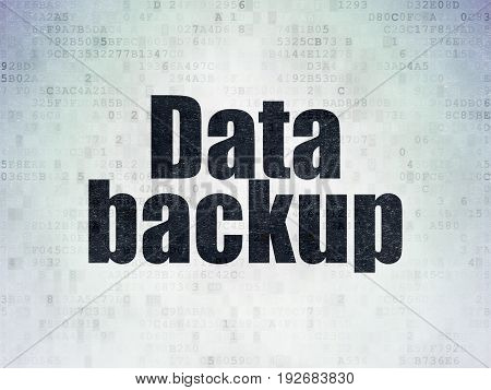 Data concept: Painted black word Data Backup on Digital Data Paper background