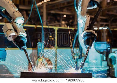Test run robot welding in car factory