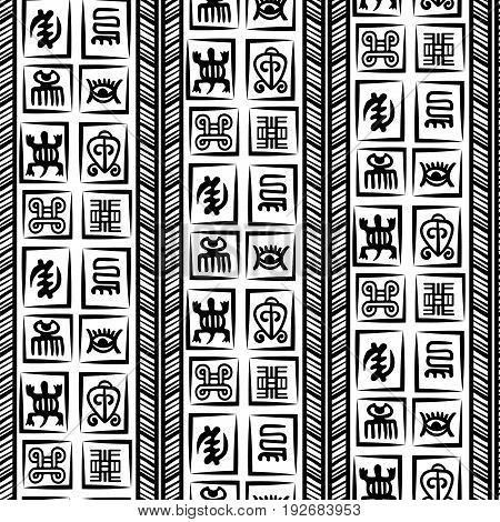 African Adinkra Pattern - black and white digital art ritual symbols and screen printing nations and tribes Akans of Ghana and Cote DIvoire.