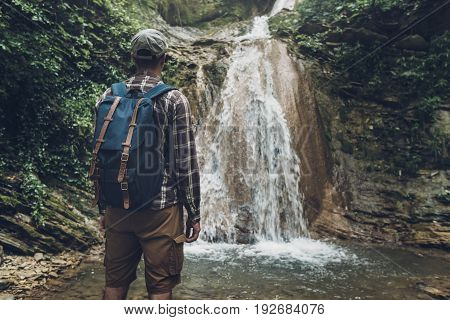 Unrecognizable Man Has Reached Destination And Enjoying View Of Wild Nature. Hiking Adventure Concept