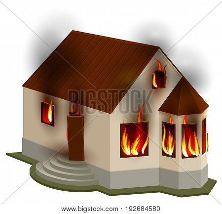 Property Insurance. Private house is on fire. Isolated on white vector 3d illustration