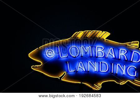 OSAKA, JAPAN - Apr 17, 2017: Lombards Landing Neon sign in Universal Studios Japan (USJ). According to 2014 Theme Index Global Attraction Attendance Report, USJ is ranked fifth among the top 25 amusement parks worldwide.