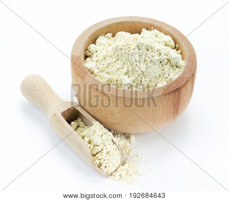Protein powder in wooden bowl isolated on white background