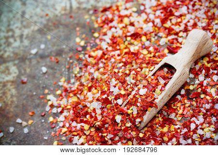 Chili pepper sea salt seasoning mix close up