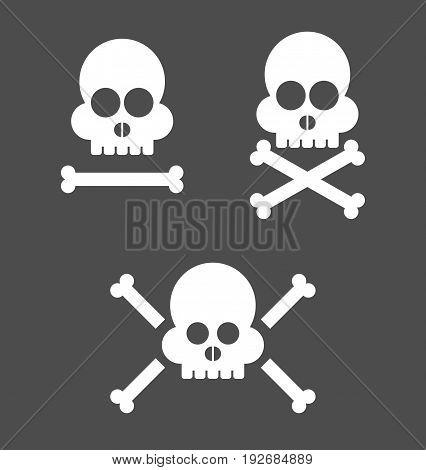 Skull set for design in vector illustration.
