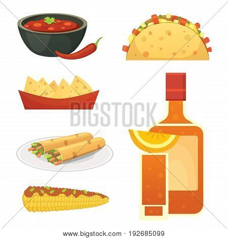 Mexican cuisine vector cartoon dishes illustration set.
