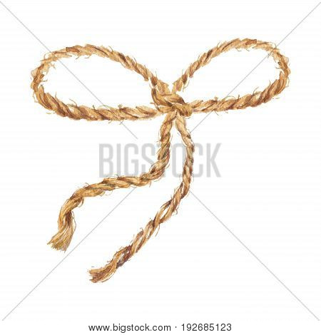 Watercolor hand drawn background with the bow-knot of the  rope. Brown cable. The jute rope. Twine. Isolated illustration on white background.