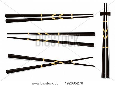 Chopsticks. Set Accessories For Sushi Isolated On White Background