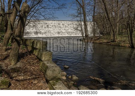Stepped spillway waterfall in north central Iowa