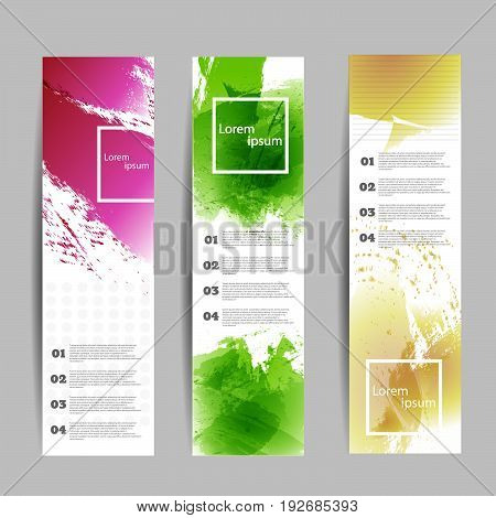 Set Of Three Varicolored Banners Vector Eps 10