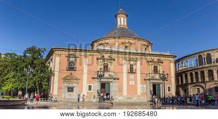 VALENCIA, SPAIN - JUNE 12, 2017: Panorama of the Basilica de la Virgen and cathedral in Valencia