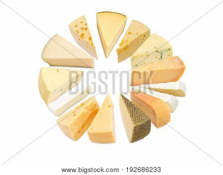 Different pieces of hard cheese semi-soft cheese and soft cheese various types lined up in a circle on a light background