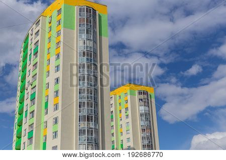 Apartment Building.multistoried Modern And Stylish Living Block Of Flats. Real Estate. New House. Re